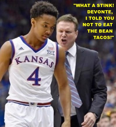 Coach with mad expression telling player: What a stink! I told you not to eat the bean tacos.