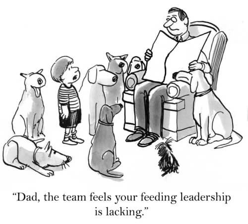Cartoon: dad in easy chair surrounded by son and 7 dogs. The boy says,