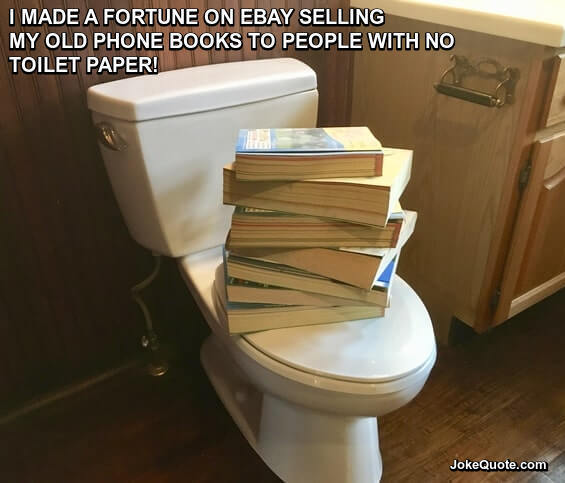 Photo of phone books on toilet lid with caption: