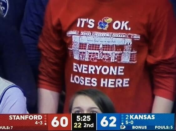 Photo showing score between visitor Stanford and home team Kansas: 60-62. Above the score is a photo of a t-shirt with caption: It's OK. Everybody loses here.