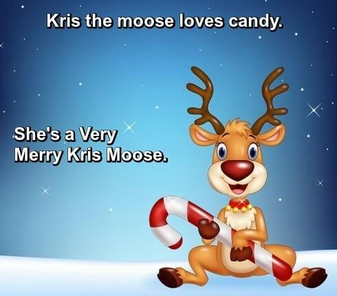 Image: Cartoon young reindeer holding candy cane. Caption: Kris the Moose loves candy. She's a very merry Kris Moose.