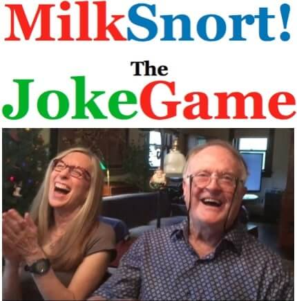 Image is logo above photo. Logo says MiklSnort! The Joke Game, above photo of woman and man laughing uproariously.