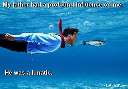 Dad Jokes: Funny photo of man in suit and tie swimming after fish underwater, Spike Milligan quote: