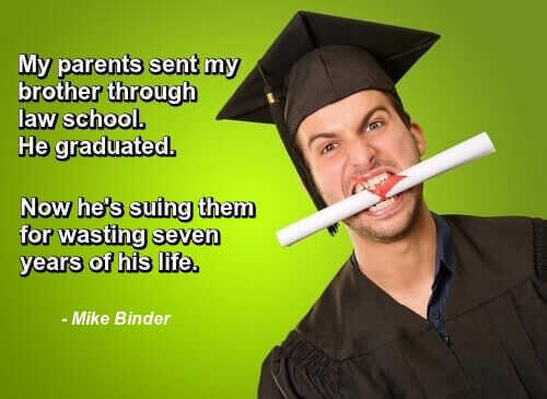 Young man in cap and gown with diploma in his teeth, and a one-liner by Mike Binder: My parents sent my brother through law school. He graduated. Now he's suing them for wasting 7 years of his life.
