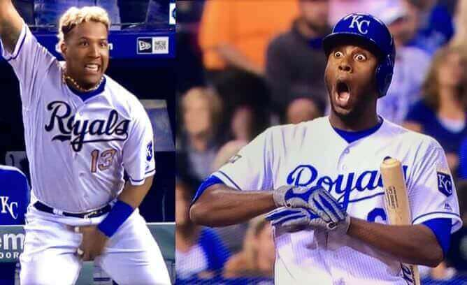 Photo of Sal Perez grabbing his crotch and Lorenzo Cain with shocked expression, eyes wide open.