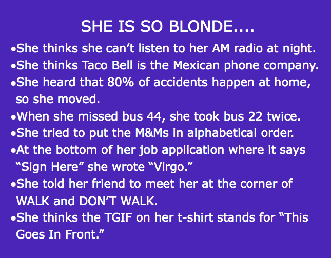 Clean Blonde Jokes For Blonde Lovers