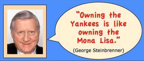 Photo: head shot of George Steinbrenner. Caption: Owning the Yankees is like owning the Mona Lisa.