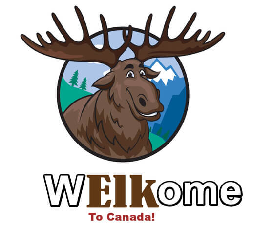 Cartoon of smiling moose with caption spelled this way: Welkome to Canada!