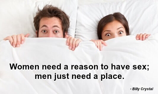 Funny sex quotes: photo of two people in bed looking at camera, with sheet covering half their faces. Caption: