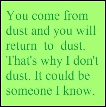Funny Sayings: You come from dust...