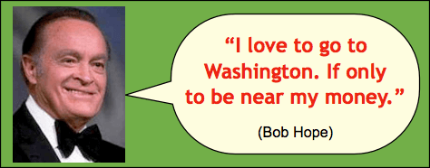 Jokes and Quotes: Photo of Bob Hope smiling and saying,