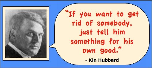 Head shot of writer Kin Hubbard with quotation: