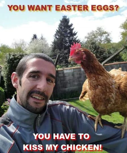 Funny photo of a guy with a hen on his shoulder and caption: