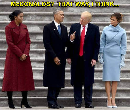 Barack and Michele Obama give Trump and Melania directions to McDonalds