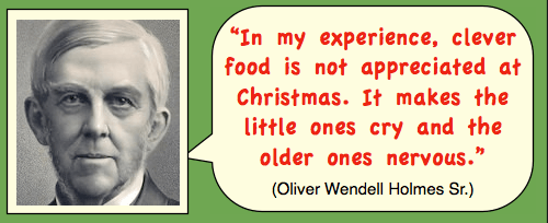 Photo of Oliver Wendell Holmes, Sr. with funny quote about food.